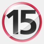 Pegatina del rojo del número 15