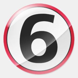Pegatina del rojo del número 6