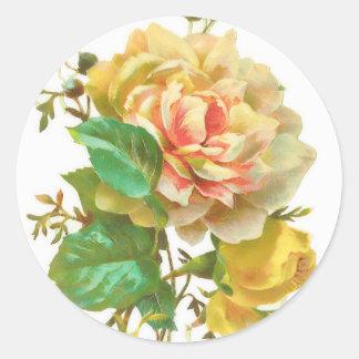 Pegatina del rosa amarillo del vintage