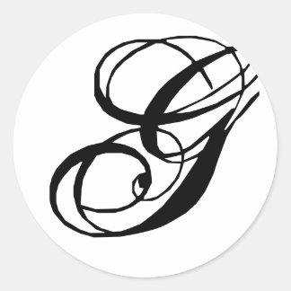 Pegatina del sello del boda de G del monograma