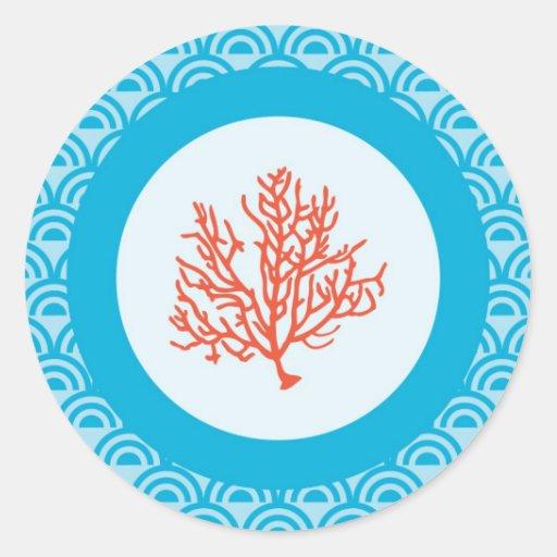 Pegatina del sello del sobre del coral rojo