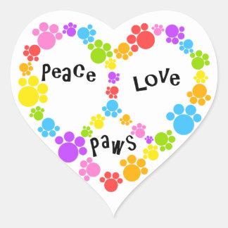 ¡pegatina del signo de la paz del corazón! pegatina en forma de corazón