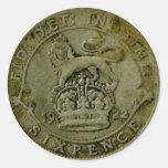 Pegatina del sixpence de 1922 Británicos