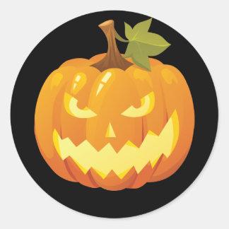 Pegatina del smiley de la calabaza de Halloween