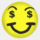 Pegatina del smiley de la muestra de dólar