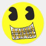 Pegatina del smiley de la parrilla del oro