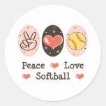 Pegatina del softball del amor de la paz
