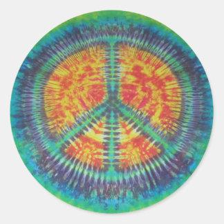 Pegatina del teñido anudado del signo de la paz