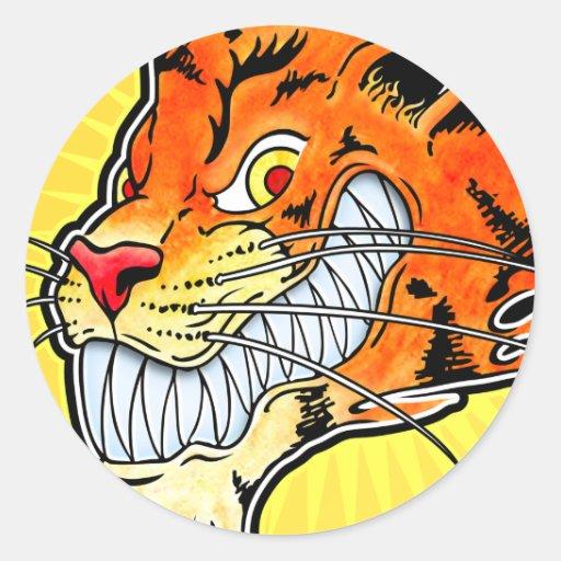 Pegatina del tigre - mueca