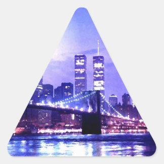 Pegatina del triángulo del panorama de la noche de