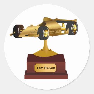 Pegatina del trofeo del coche de carreras del oro