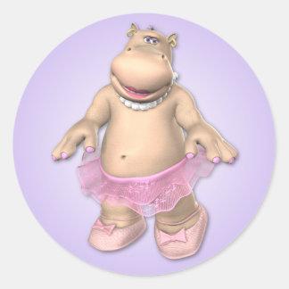Pegatina del tutú del hipopótamo