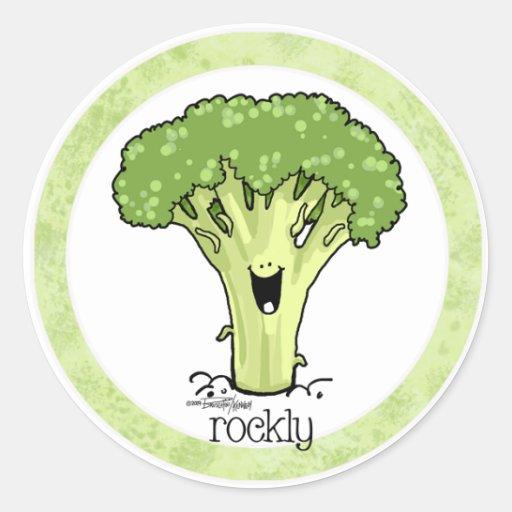 Pegatina del Veggie del dibujo animado del bróculi