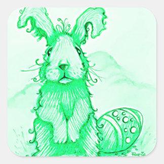 Pegatina del verde del conejo de conejito