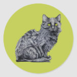 Pegatina del verde del gato negro