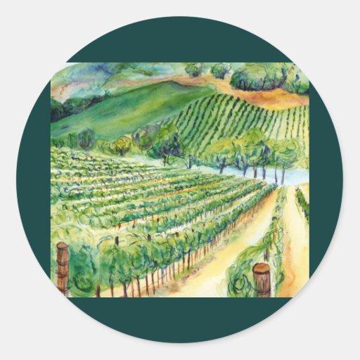 Pegatina del viñedo de California
