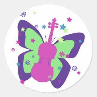 Pegatina del violín de la mariposa