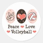 Pegatina del voleibol del amor de la paz