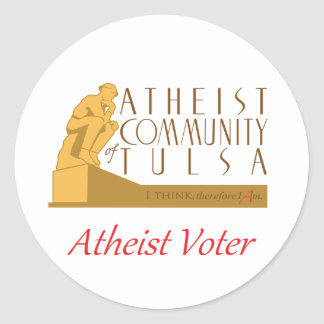 "Pegatina del ""votante ateo"" del ACTO Pegatina Redonda"