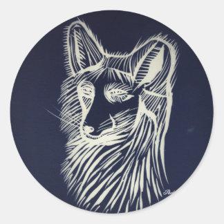 pegatina del zorro de la noche del pawley redondo