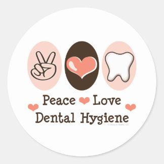 Pegatina dental de la higiene del amor de la paz