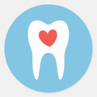 Pegatina dental del dentista del corazón del amor