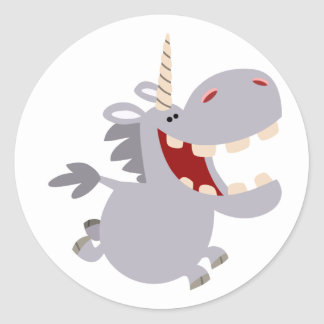 Pegatina dentudo lindo del unicornio del dibujo