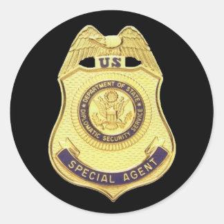 Pegatina diplomático de la seguridad (fondo negro)