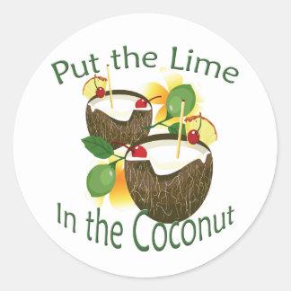 Pegatina divertido de la bebida del coco del