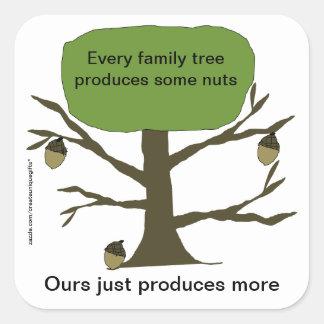 Pegatina divertido del árbol de nuez de la familia