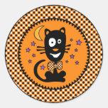 Pegatina divertido del gatito de Halloween