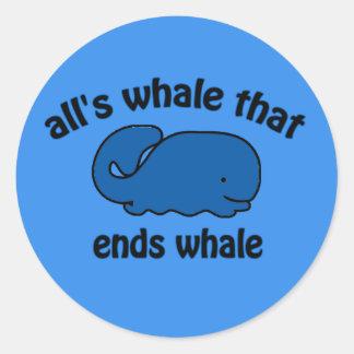 Pegatina divertido del reloj de la ballena