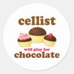 Pegatina divertido del violoncelo del chocolate
