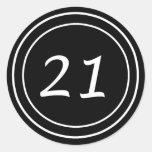 Pegatina doble del negro del círculo 21