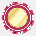 Pegatina dorado rojo de la ficha de póker