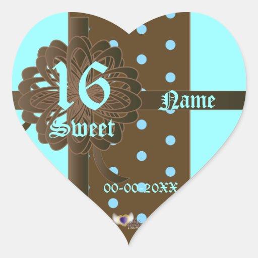 Pegatina dotado del corazón del dulce dieciséis -