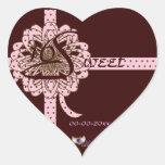 Pegatina dotado del corazón del dulce dieciséis