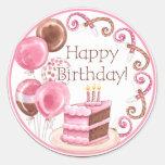 Pegatina dulce del feliz cumpleaños de los dulces