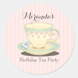 Pegatina dulce elegante de la fiesta del té de la