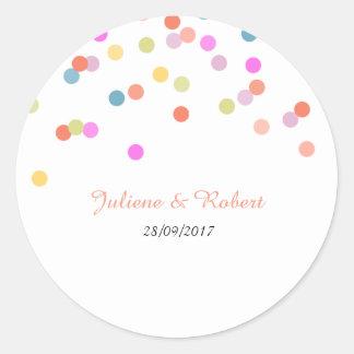 Pegatina el | moderno alegre del boda del confeti