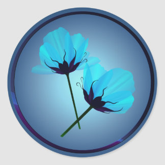 Pegatina eléctrico de dos flores del azul