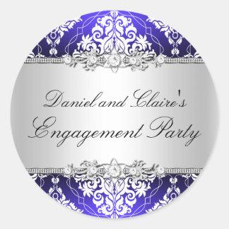 Pegatina elegante azul del fiesta de compromiso