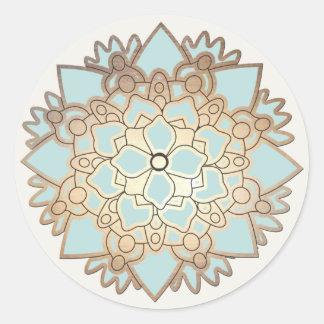Pegatina elegante de la flor de Lotus del azul y d