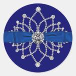 Pegatina elegante de los diamantes del azul real