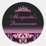 Pegatina elegante de Quinceanera del damasco rosad