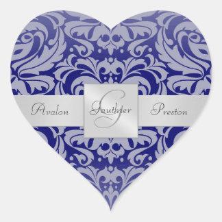 Pegatina elegante del boda del corazón del damasco