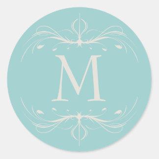 Pegatina elegante del Flourish del monograma del b
