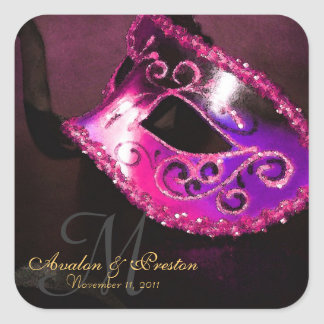 Pegatina elegante del monograma de la mascarada