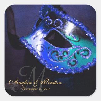 Pegatina elegante del monograma de la mascarada az