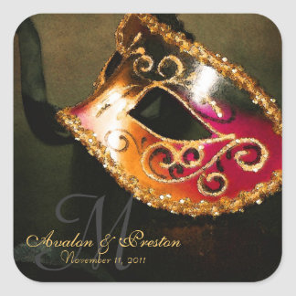 Pegatina elegante del monograma de la mascarada de